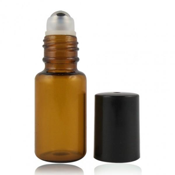 Botella de roll-on de 5 ml en vidrio ámbar y bola de acero